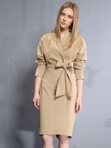 安娜ANNA女装秋冬款收腰包臀连衣裙