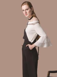 HelenModa女装新品一字肩喇叭袖上衣