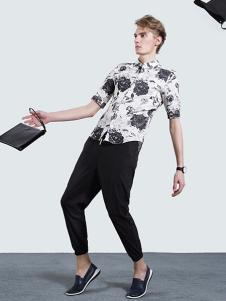 新升流派短袖印花衬衫