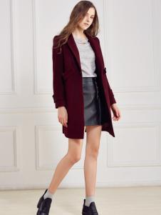 都市衣柜红色简约呢外套