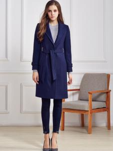 都市衣柜蓝色收腰呢外套
