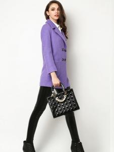 Sanlady女装紫色翻领修身大衣