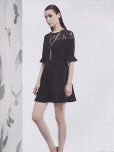 阿莱贝琳黑色A字连衣裙