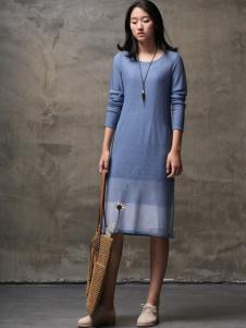 墨曲女装2017春夏新品蓝色圆领连衣裙