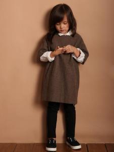 天使舞台女童长款针织毛衣