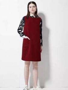 欧蒂芙女装新品酒红色连衣裙