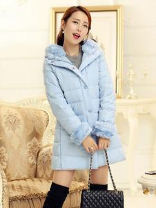 阿珍妮女裝藍色中長款羽絨服