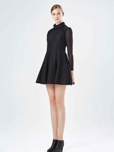 保时霓黑色时尚连衣裙新款