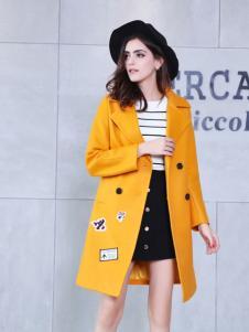艾诺绮黄色长款大衣