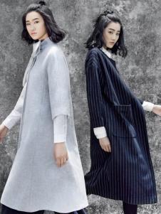SUNMORE尚默女装灰色呢大衣