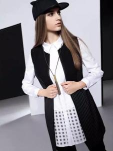 依米奴女装新品黑色条纹马夹