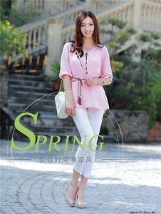 2017年依贝尔春夏新品粉色收腰上衣
