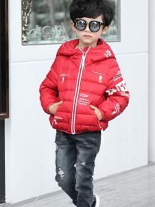 乔克叔叔童装男童红色短款连帽羽绒服
