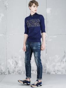 L2男装新品蓝色上衣