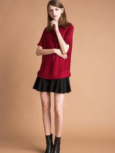 雅意娜菲女装新品红色针织短袖