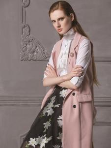 HelenModa女装新品粉色长款马夹