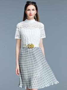艾丽哲白色蕾丝拼接连衣裙