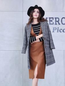艾诺绮灰色时尚长款大衣
