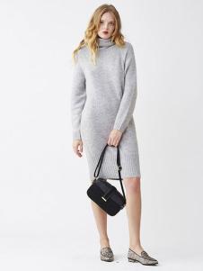 LilyBrown女装新品高领针织连衣裙