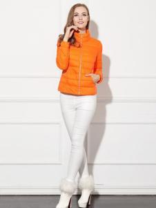 必芙丽橙色短款羽绒服