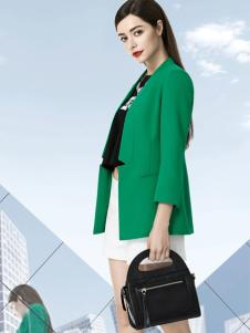 依目了然女装绿色小西装外套