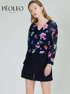 Peoleo飘蕾2017春装新款长袖印花V领雪纺衫