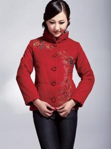 美迪菲女装立领印花红色棉服