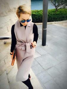 玛斯卓拉时尚长款马甲外套