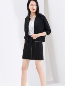 芭蒂娜女装2017春装新品黑色休闲外套