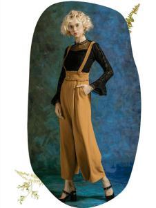 MAXRIENY女装2017春夏新品廓形背带裤