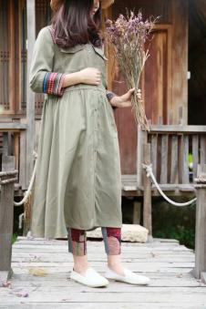 MOCI HIPAA2017春夏新品棉麻连衣裙军绿色