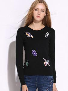 VIVIdion女装黑色圆领T恤