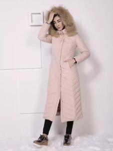 THAT'S ALL女装粉色长款羽绒服