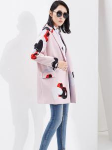 芭蒂娜女装2017春装新品印花粉色西装领大衣