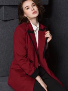 Enaco爱妮格女装酒红色翻领大衣
