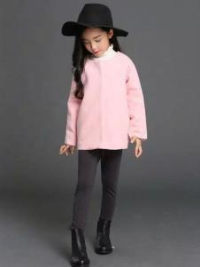 杰米杰妮秋冬新品女童粉色呢大衣