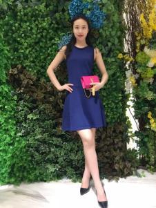 ANNIEP安妮皮诺女装蓝色修身连衣裙