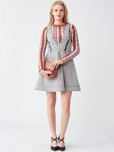 LilyBrown女装新品条纹背带裙
