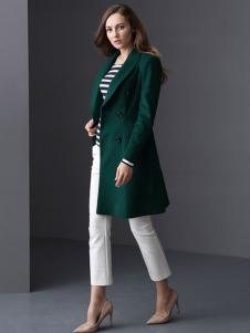 ELLE女装秋冬新品绿色修身呢大衣