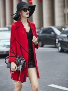 艾米秋冬红色大衣新款新品
