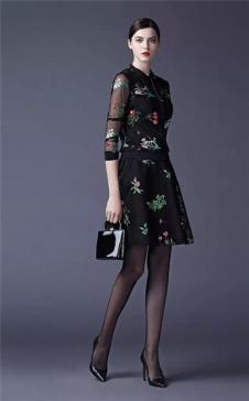 SUSSI古色2017春夏女装黑色印花套装