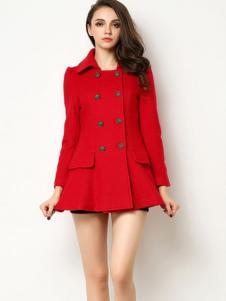 Sanlady女装红色双排扣大衣