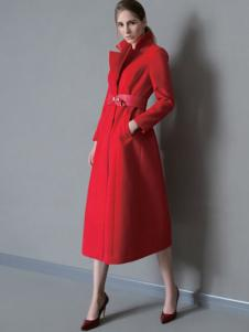 DE CLASSIE女装红色修身长款大衣