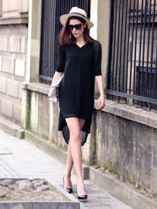 水映女装新品V领黑色连衣裙