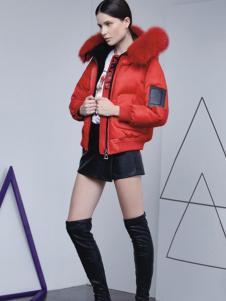 埃文女装秋冬款红色短款外套