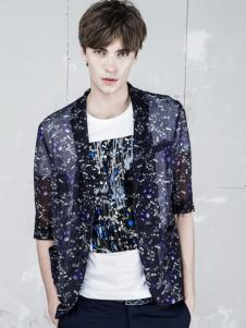 L2男装新品印花透明雪纺衫
