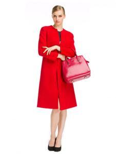 凯撒休闲装秋冬新品红色及膝大衣