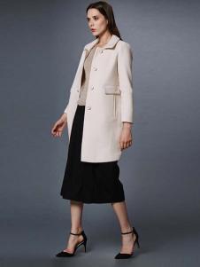 艾诺丝·雅诗女装秋冬新品米色长款外套