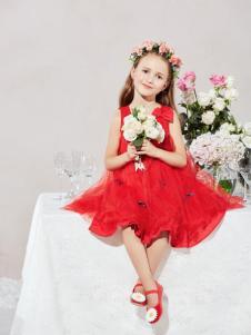 T100无袖红色蕾丝连衣裙