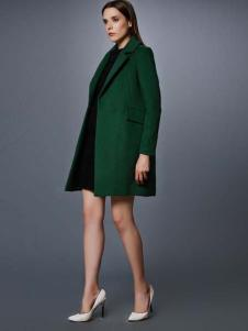 艾诺丝·雅诗女装秋冬新品深绿色大衣